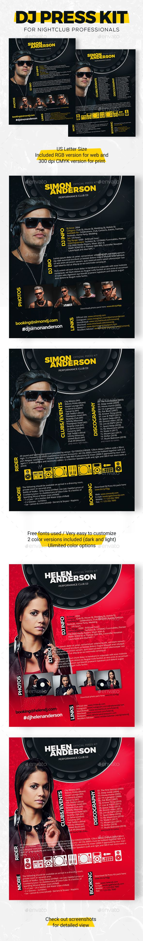 Roll   DJ Press Kit / DJ Resume / DJ Rider PSD Template  Dj Resume