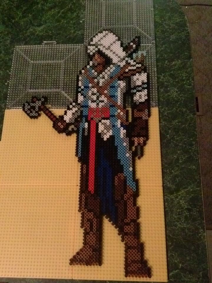 Assassins Creed 3 Connor Full Size Handmade Video Game Pixel Art Perler beads by deathpixie22