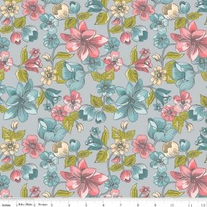 Gray Main Floral Linen & Lawn Light weight by Sue Daley - https://www.stitchesquilting.com/shop/gray-main-floral-linen-lawn-light-weight-by-sue-daley/