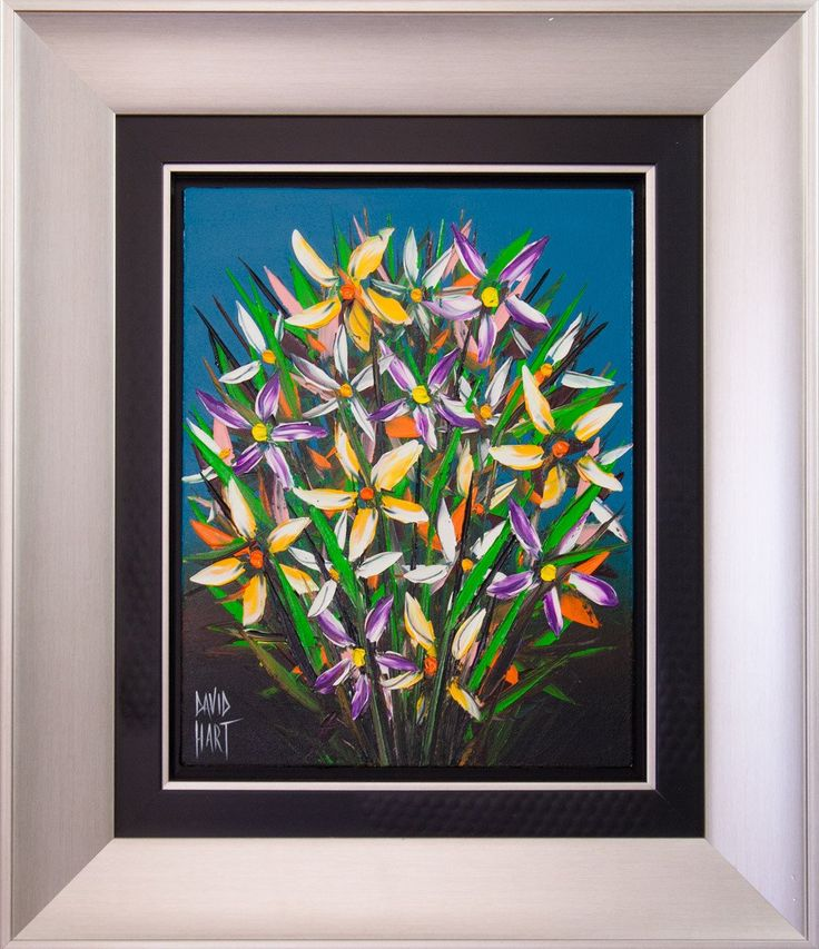 David HART (1971 - )'Flower Study Blue'Acrylic on Canvas Image Size: 45 x 38 cm Framed Dimensions: 75 x 56 x 4 cm Signed: Signed lower leftComes with Letter of