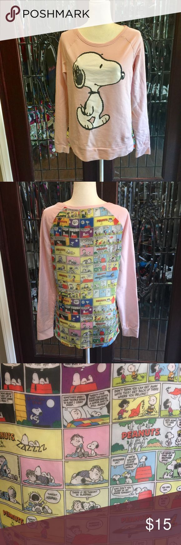 Peanuts Brand Comic Sweat Shirt with Snoopy!❤️ Peanuts Brand Comic Sweat Shirt - pale pink front with comic on the back. Super cute for the Snoopy lovers! Peanuts Tops Sweatshirts & Hoodies