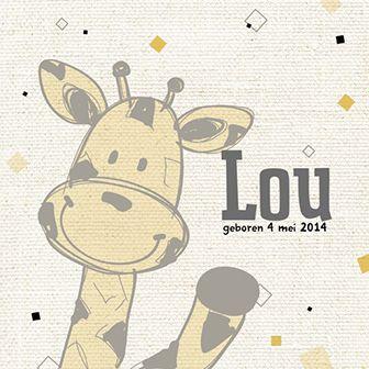 Hallo giraffe geel - Babykaartje www.carddreams.be