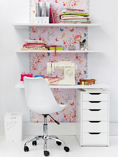 thinking of kids rooms desks- thought this is a very cool way to add a bit of personality in a small area of the room( wallpaper behind the desks) may be able to even  find some rugby themed for Hamish!