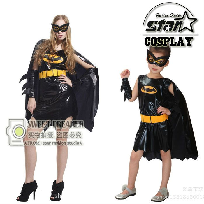 Halloween Party Dress Up Costume for Mother Daugther Batman Costume Girl Cosplay Fancy Dress Performance Faux Leather Uniforms