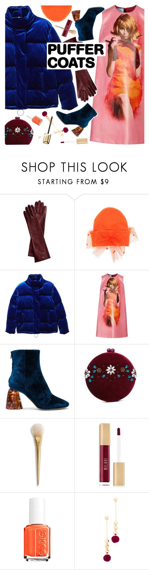 """""""Stay Warm: Puffer Coats"""" by ladysnape ❤ liked on Polyvore featuring Silver Spoon Attire, MANGO, Prada, E L L E R Y, Serpui, Essie, Elizabeth and James, Guerlain, Winter and puffercoats"""