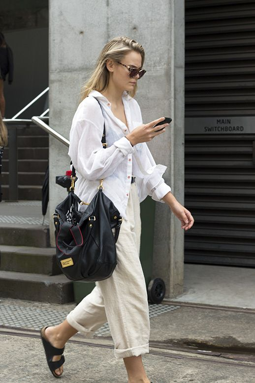 white blouse + cream trousers. casual done right.