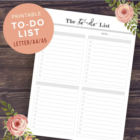 To Do List Printable To Do Planner Inserts by PrintablePineapple