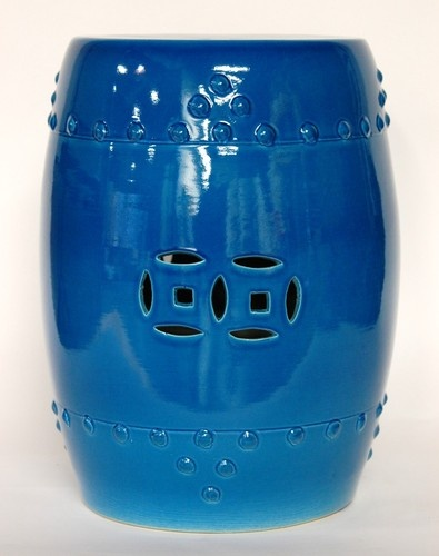 Ceramic Garden Stool Blue Turquoise Porcelain Side Seat Stand Table Decor 16 5