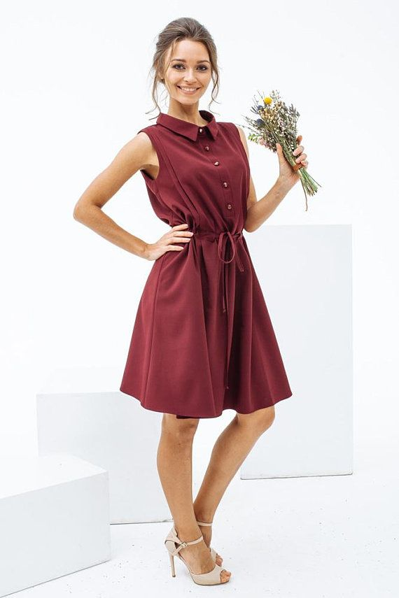 46d8253141ad Fancy A Line Shirt Dress With Adjule Waist Burgundy Summer