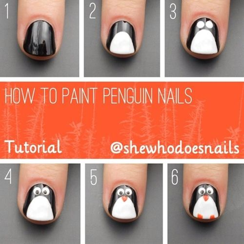 Penguin Nail Art Tutorial I would totally do this on Yaeli's nails :)  I just need the colors now!