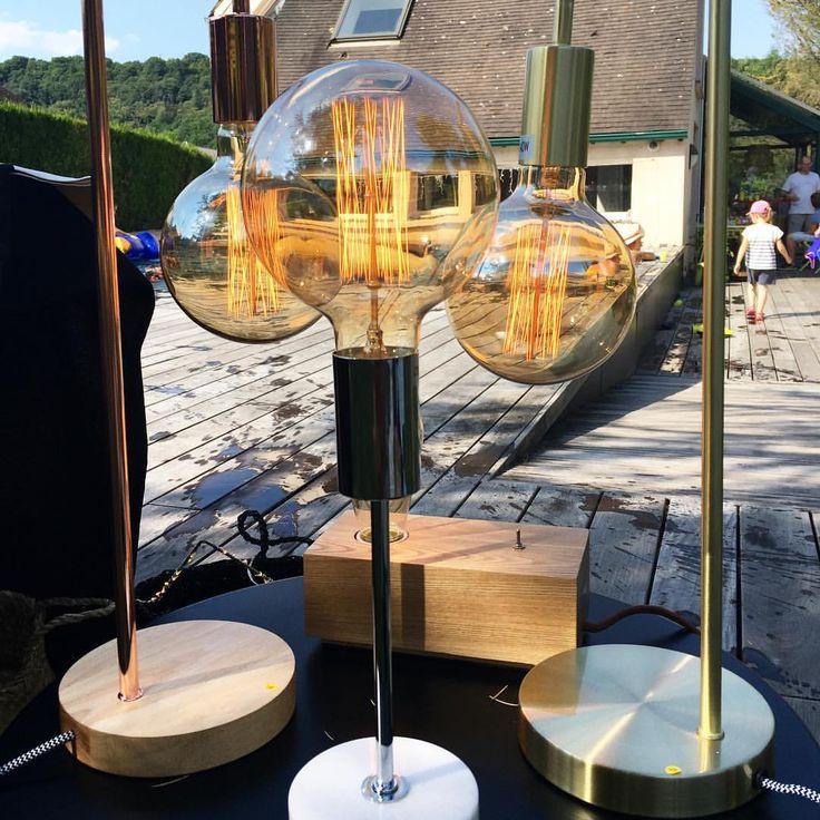 Lampes avec ampoule à filament rétro cuivre et bois marbre et chrome ou laiton