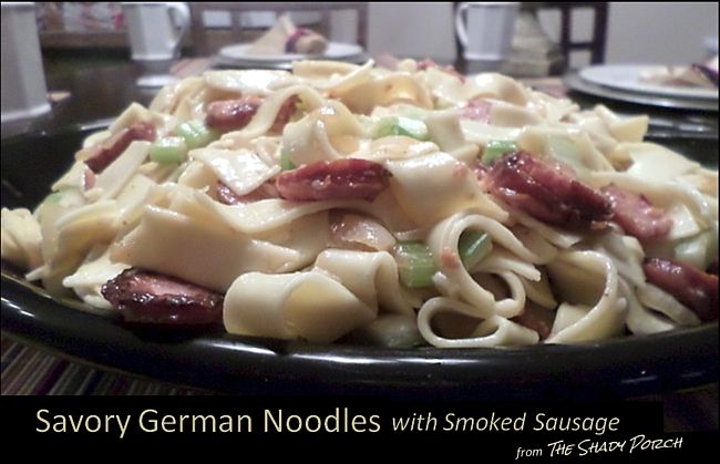 Savory German Noodles with Smoked Sausage  - close up