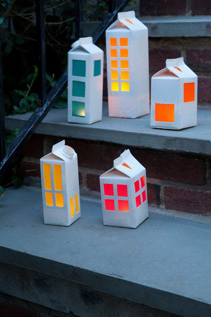 7x lampions maken van een melkpak