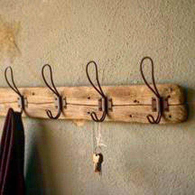 Recycled Wood Coat Rack With 5 Rustic Hooks Wooden Coat Rack Rustic Furniture Rustic Decor