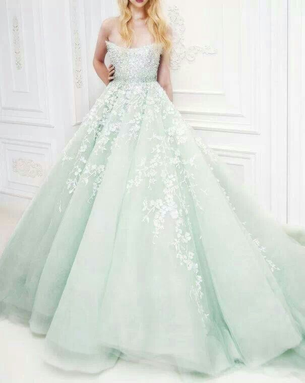 Mint gown by Michael Cinco
