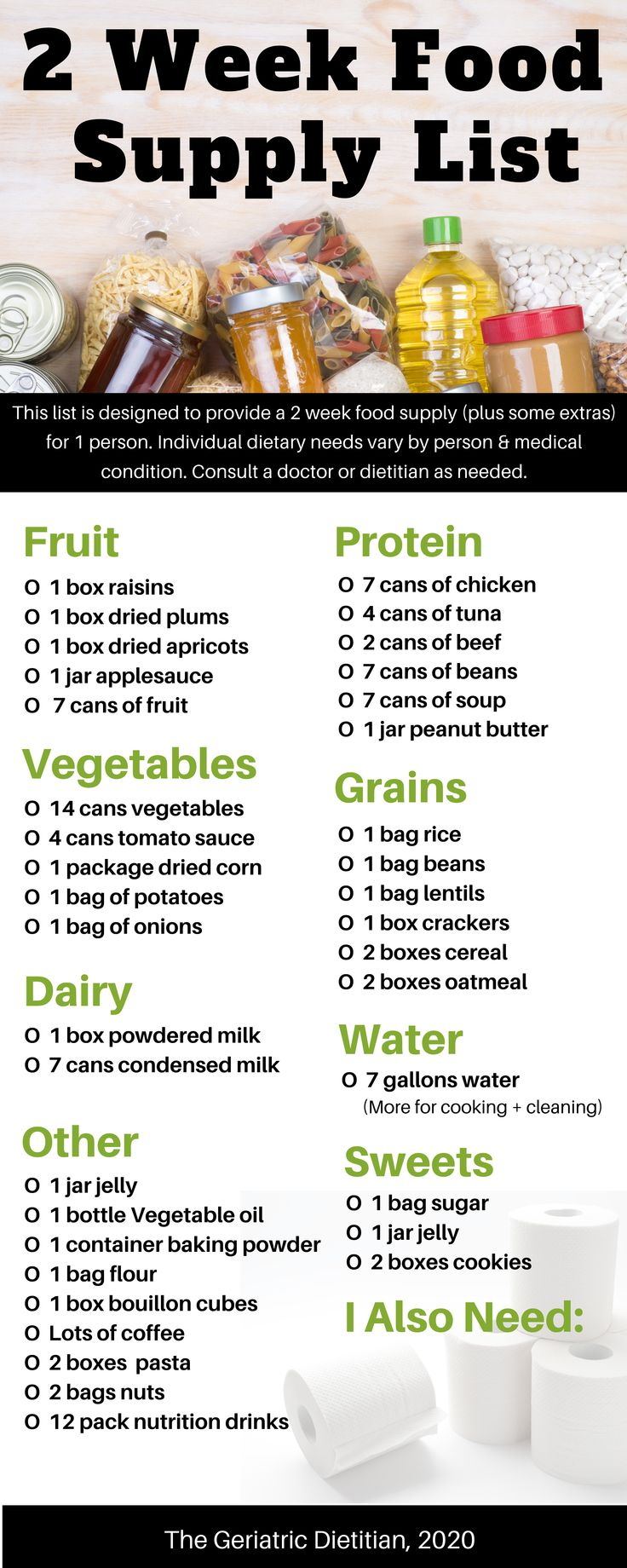 2 week food supply list for emergency or disaster