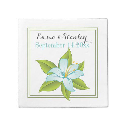 Elegant aqua blue lily floral wedding custom paper napkins