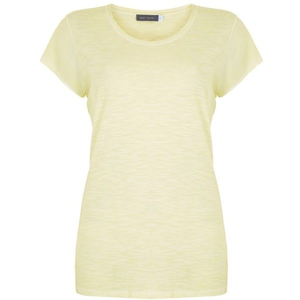 Mint Velvet Woven Sleeve T-Shirt ($38) ❤ liked on Polyvore featuring tops, t-shirts, citrus, jersey top, woven t shirt, sleeve tee, beige t shirt and short sleeve tops