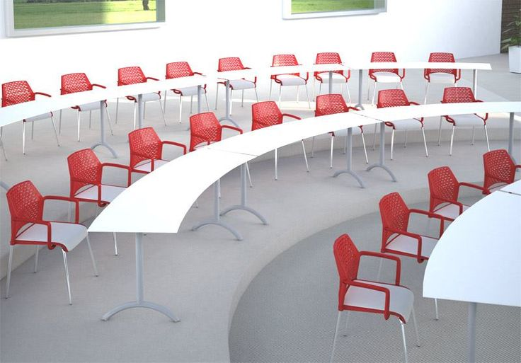 Rewind Arm chairs, upholstered seat insert, custom Luna training tables #erginternational #interiordesign: