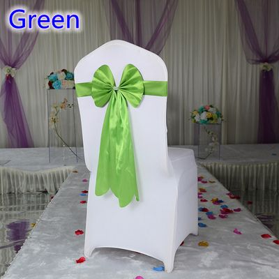 Green colour spandex chair sash long tail wedding butterfly bow tie lycra band stretch bow tie ribbon for weddings wholesale