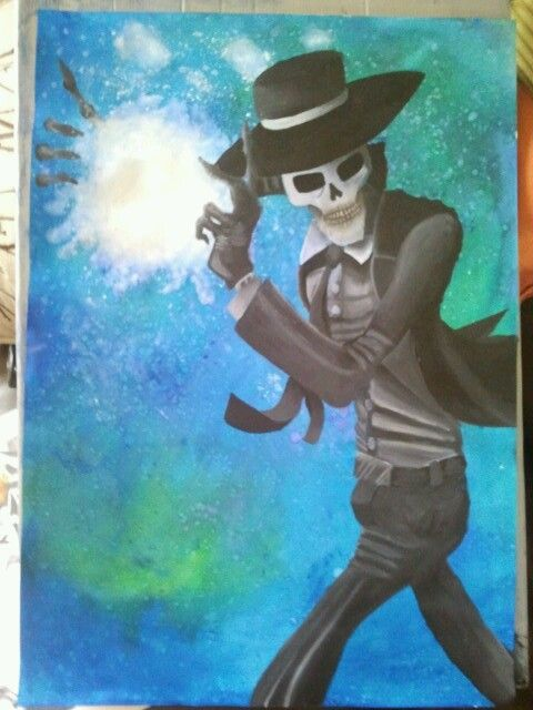 My A2 acrylic piece of art based on the book series Skulduggery Pleasant by Derek Landy