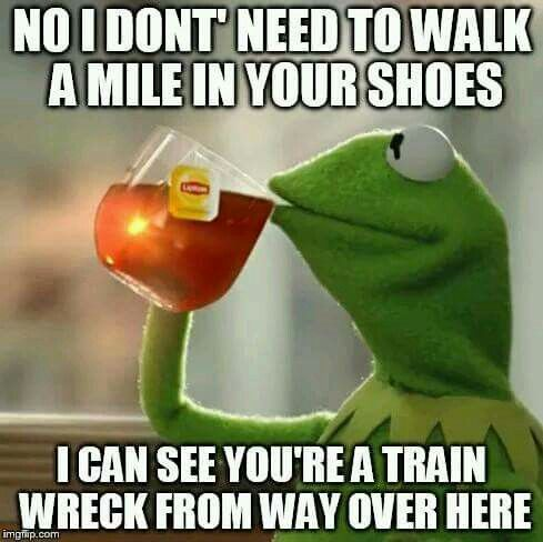 No I don't need to walk a mile in your shoes, I can see you're a train wreck from here