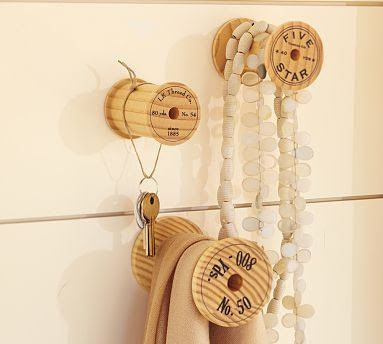 Old Wooden Thread Spools as hooks