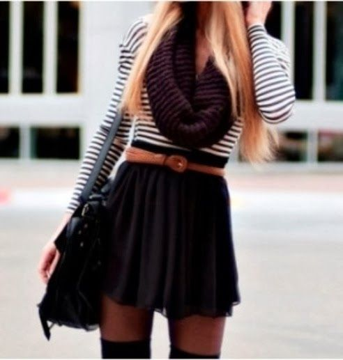 Adorable scarf, sweater and skirt for fall