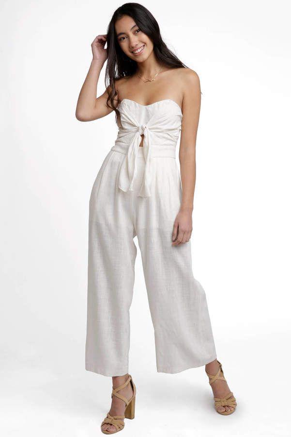 baa3b9e9a45 ASTR Strapless Mara Linen Jumpsuit