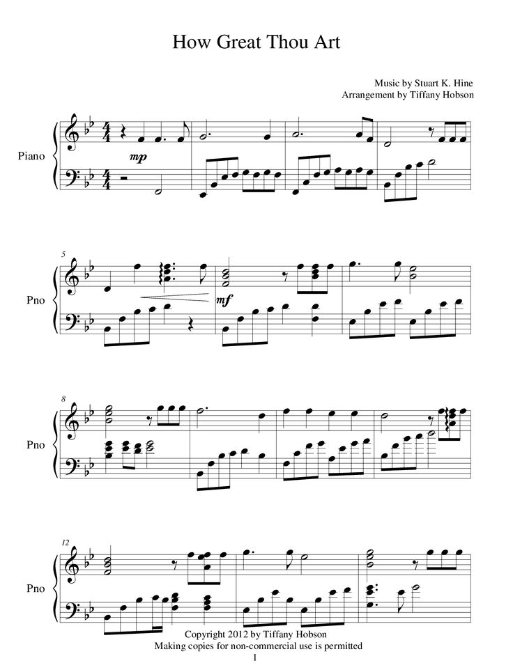 How Great Thou Art (by Tiffany Hobson -- Piano, Piano Solo)