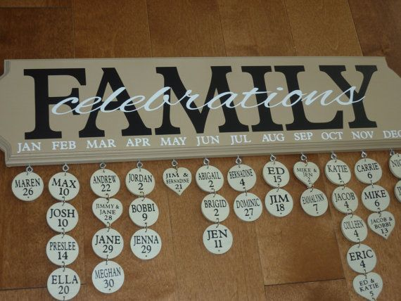 Family Celebrations - Birthday / Anniversary Calendar - 20 PERSONALIZED Tags Included - Family Birthday Board