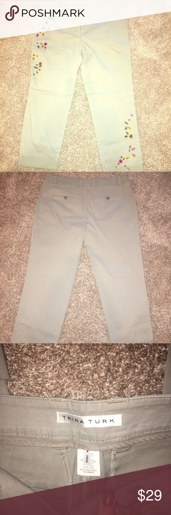 Trina Turk size 4 khaki capris jewled NWOTS Pet free smoke free home purchased from Notdsrtom so different ships same or next day cheaper on merc Trina Turk Pants Ankle & Cropped