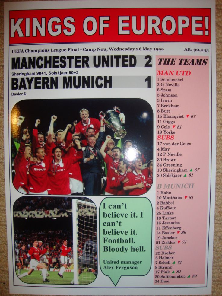 Manchester United 2 Bayern Munich 1 - 1999 Champions League final - souvenir print by LilywhiteMultimedia on Etsy