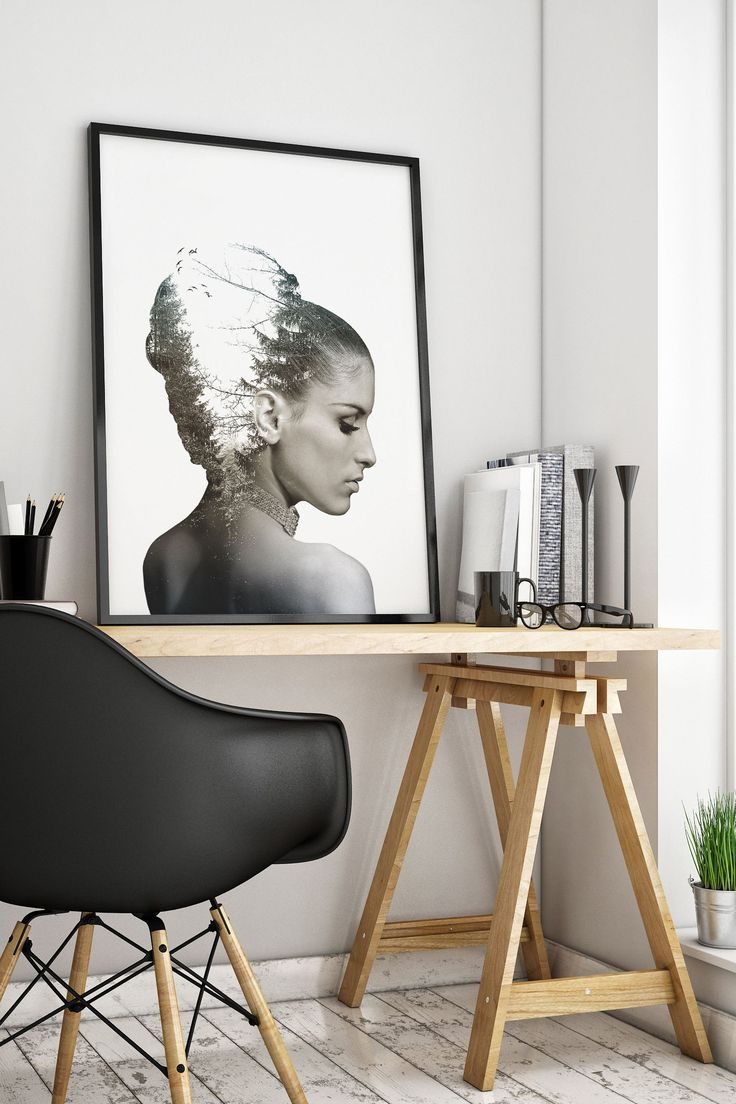A black and white double exposure print with a portrait of a beautiful woman. This art print is simple and elegant and suits any modern, trendy decor! Wall art, living room, bedroom, poster