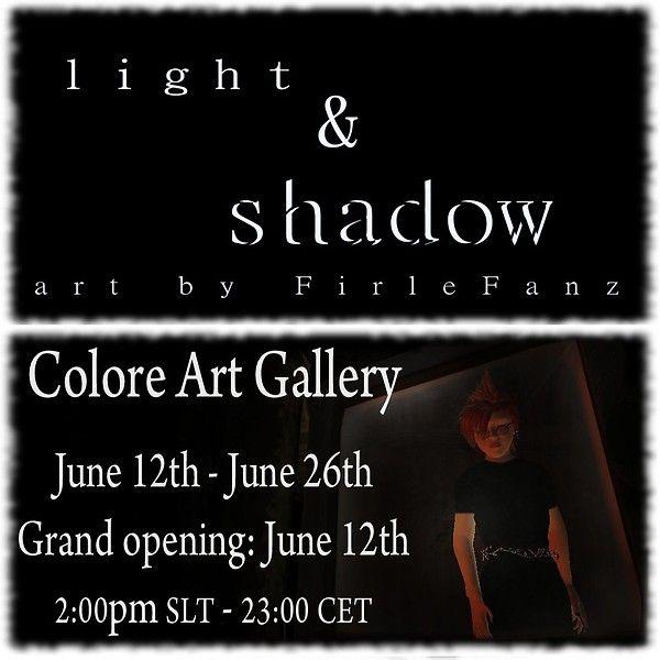 FirleFanz Exhibition:    COLORE Art Gallery: http://maps.secondlife.com/secondlife/Oppenheim/208/65/23
