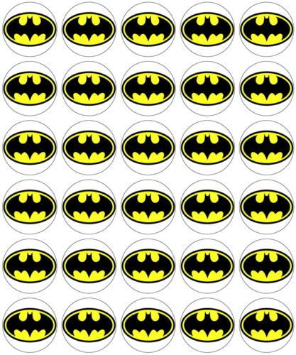 30 x Batman Logo Edible Rice Wafer Paper Cup Cake Toppers
