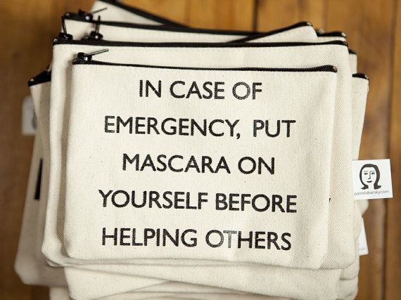 In case of emergency, put mascara on yourself before helping others // 6 x 8 by pamelabarskyshop on Etsy