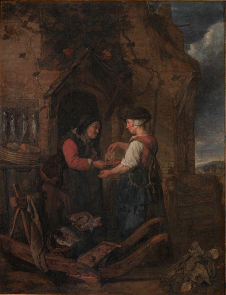 Gabriel Metsu: Jonge vrouw verkoopt vis aan een oude vrouw. ca. 1656-1658. Národní Galerie v Praze, Prague. Geïnspireerd op Gerard Dou: Oude vrouw met haring en een jongen in een venster. ca. 1650-1675. Metsu herhaalde het onderwerp van deurverkoop en de tegenstelling tussen een oud en een jong figuur.