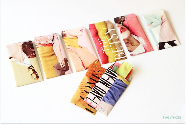 Custom envelopes out of J. Crew catalogue pages