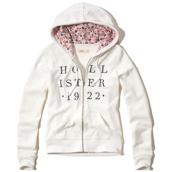 Hollister Floral Print Graphic Fleece Hoodie (£16) ❤ liked on Polyvore featuring tops, hoodies, white, floral hoodie, white fleece hoodie, full zip hoodie, fleece hoodies and graphic hoodie