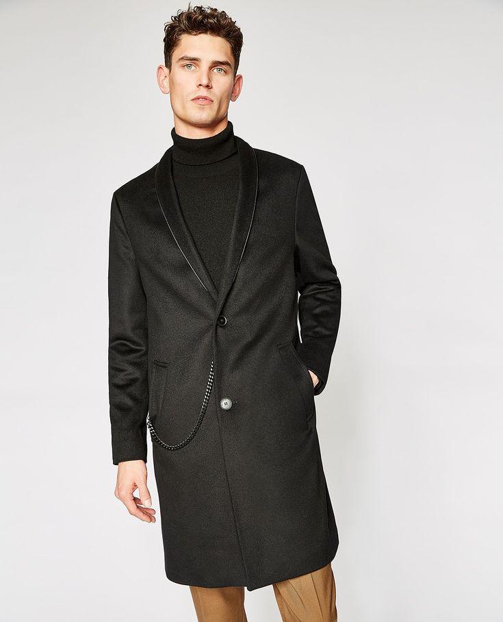 Schwarzer Mantel mit Kimonokragen -  MAN
