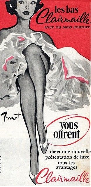 Vintage French ad for Clairmaille stockings.
