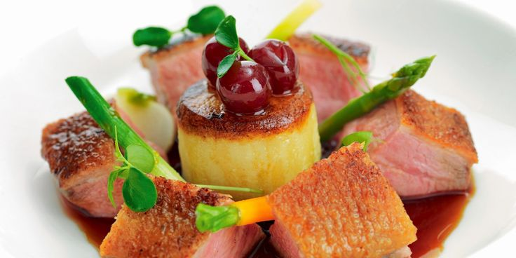 This duck recipe from Mark Jordan pairs honey roast Gressingham duck with griottine cherries for a delicious dinner