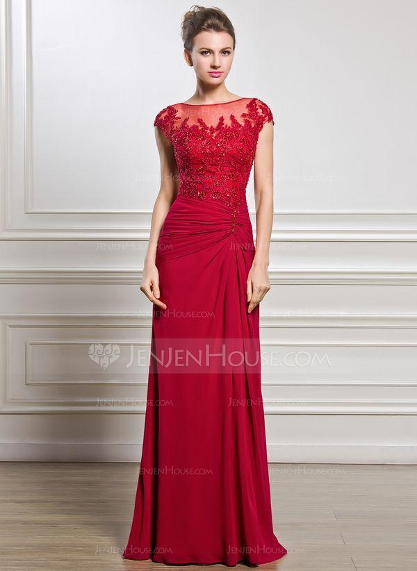 Tubo Decote redondo Longos De chiffon Tule Vestido para a mãe da noiva com Pregueado Bordado Apliques de Renda Lantejoulas Frente aberta (008056834) - JenJenHouse