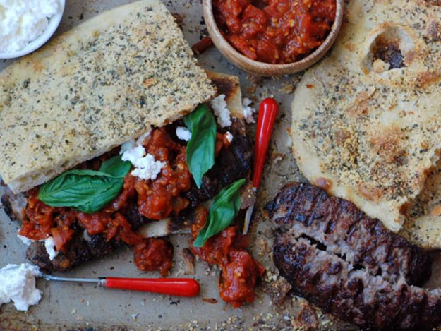 Grilled Sausage and Ricotta Pizza Sandwich
