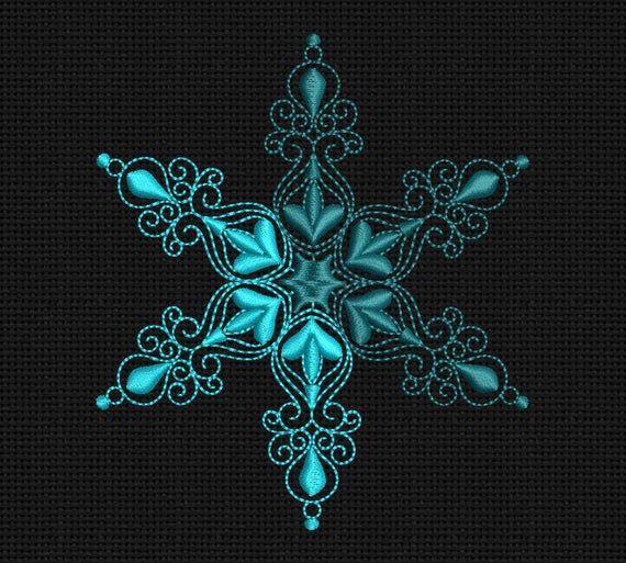 Machine Embroidery Design Snowflake Mandala 4x4 In Instant