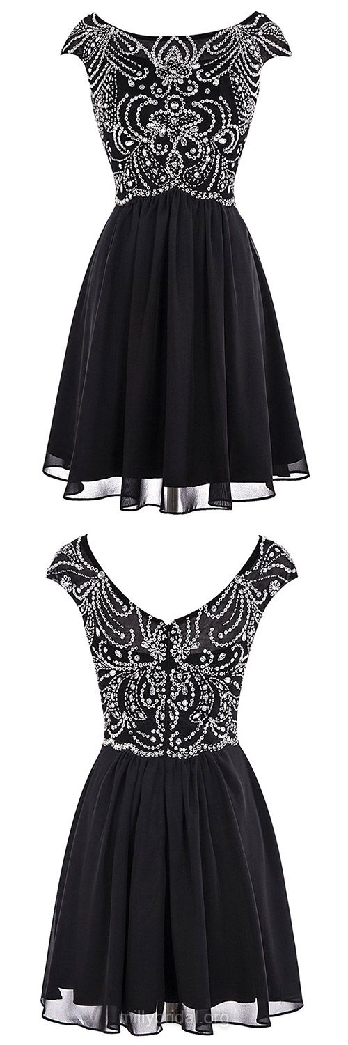 Fashion Girls Prom Dresses,A-line Scoop Neck Black Homecoming Dresses, Chiffon Tulle Short/Mini Cocktail Club Dress,Beading Black Formal Evening Gowns