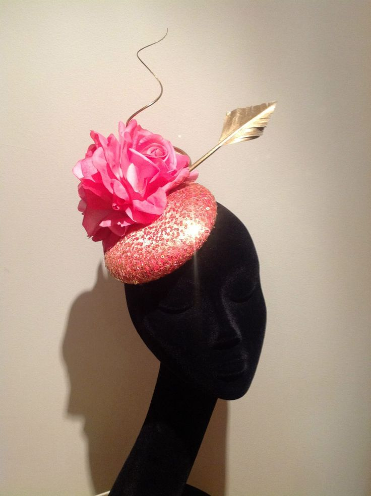Coral pink and gold headpiece