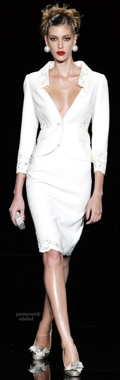Valentino ~ Elegant ..White Summer Skirt Suit w Low Sweetheart Neckline