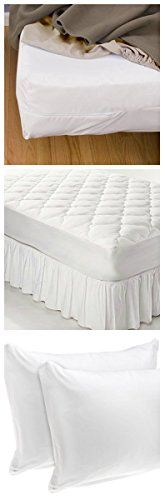 Elegant Home - Mattress Kit: Zippered Waterproof Mattress Bed Bug Protector, Quilted Topper and a Kit of 2 Standard/Queen Pillow Protectors - (Queen Size)